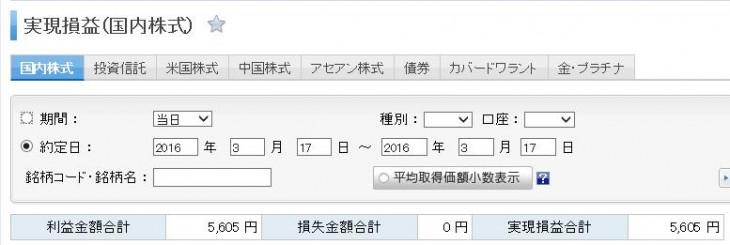 トレード結果株2016 3 17
